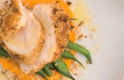 Dukkah crusted chicken breast with mashed pumpkin and green beans