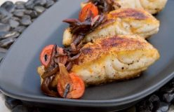 Barbecued snapper fillets with charred red onion and tomato salsa
