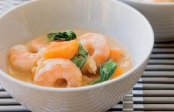 Prawns and sweet potato in a sweet red curry sauce