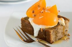 Vanilla poached apricots with hazelnut sponge
