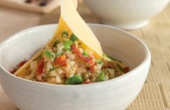 Spring vegetable risotto with prosciutto