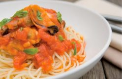 Maggie Beer's vino cotto Spaghetti with mussels and tomato sauce