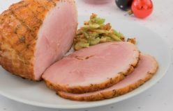 Baked Christmas ham with apple, celery and walnut salad