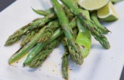 Char-grilled asparagus and beans with olive oil and black pepper
