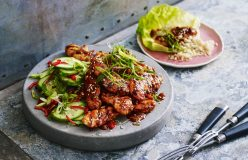 Lilydale Spicy Korean Chicken with Cucumber salad